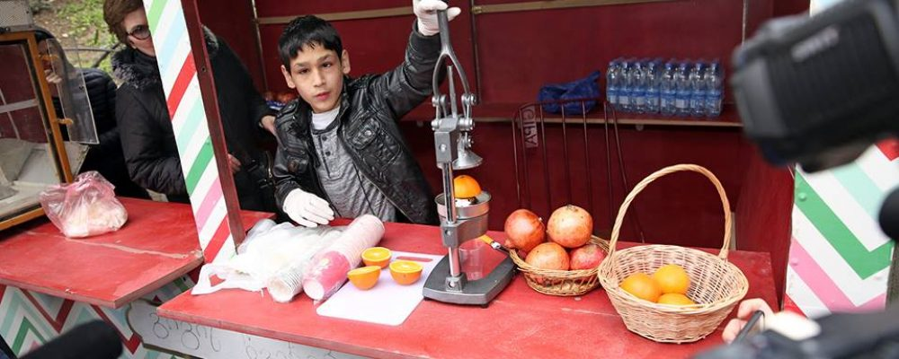 Tbilisi City Hall gifts food stand to a teenager street vendor with cerebral palsy