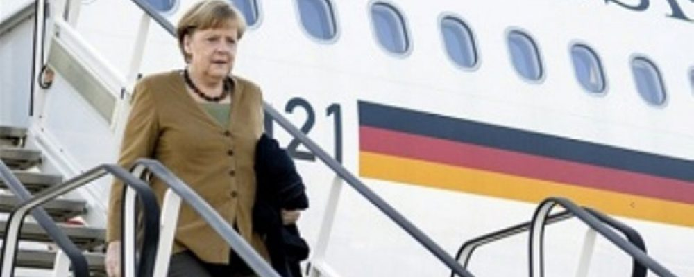 The German Chancellor, Angela Merkel, arrived at the International Airport of Tbilisi, the capital of Georgia on Thursday